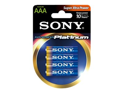 Sony 4-Pack AAA Alkaline Stamina Platinum (Master Case Qty 48), AM4PTB4D