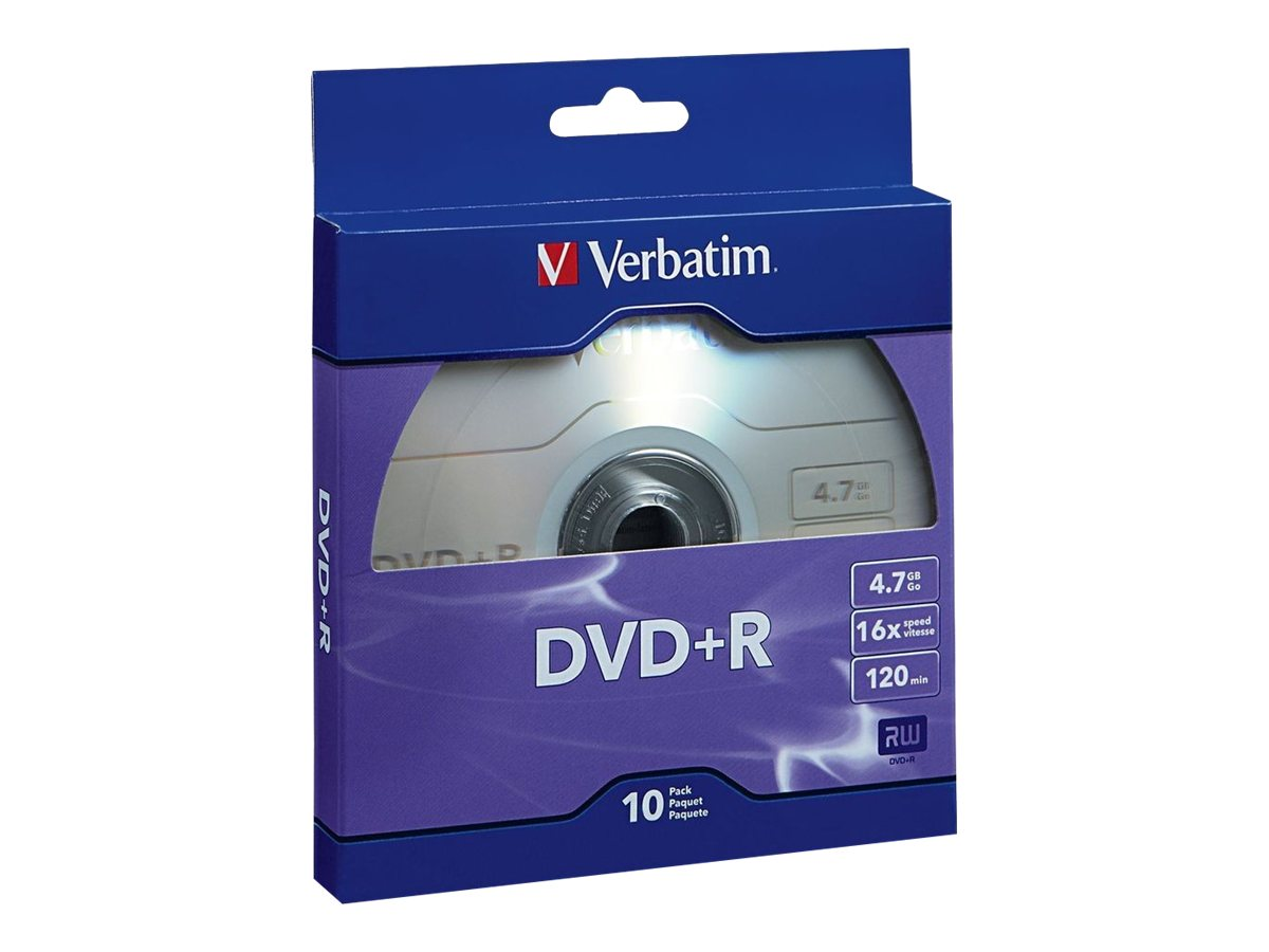 Verbatim 16x 4.7GB DVD+R Media (10-pack Retail Box), 97956, 17031621, DVD Media
