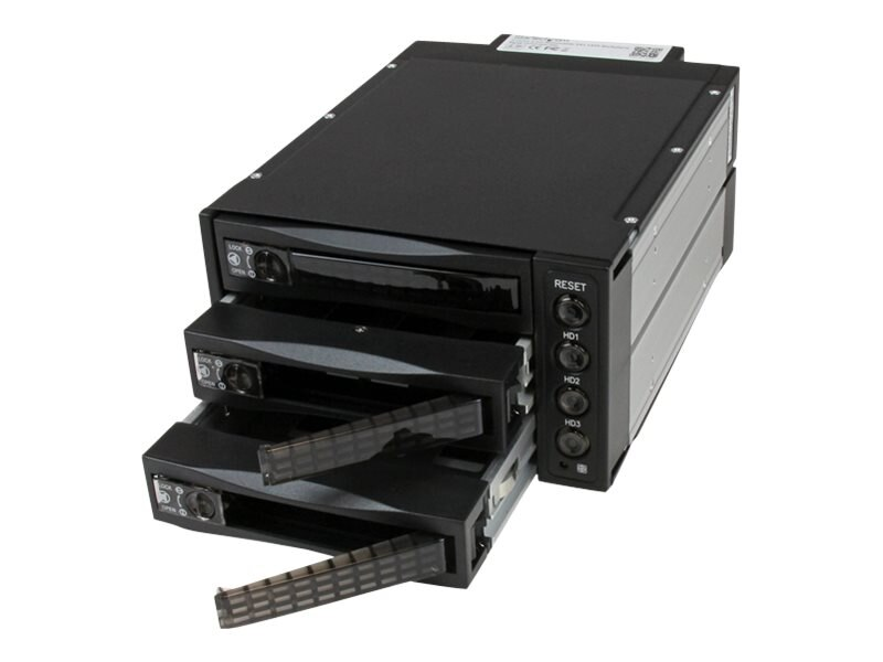 StarTech.com 3 Drive 3.5 Removable Mobile Rack RAID Hotswap SAS SATA Backplane, SATSASBAY3BK, 10703316, Hard Drive Enclosures - Multiple