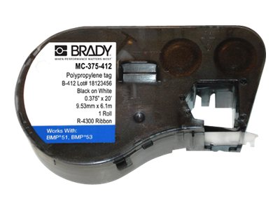 Brady 0.375 x 20' Non-Adhesive Black on White Polypropylene Tag Label Cartridge for BMP51, BMP53 & BMP41, MC-375-412, 17799349, Paper, Labels & Other Print Media