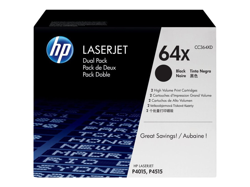 HP 64X (CC364XD) 2-pack High Yield Black Original LaserJet Toner Cartridges, CC364XD