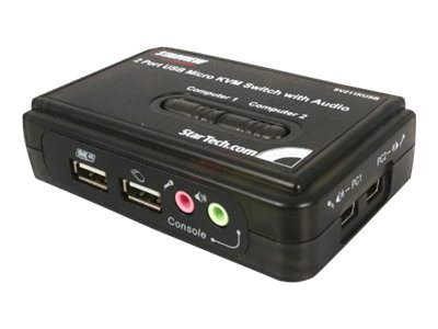 StarTech.com 2-Port Mini USB KVM Kit with Cables and Audio Switching