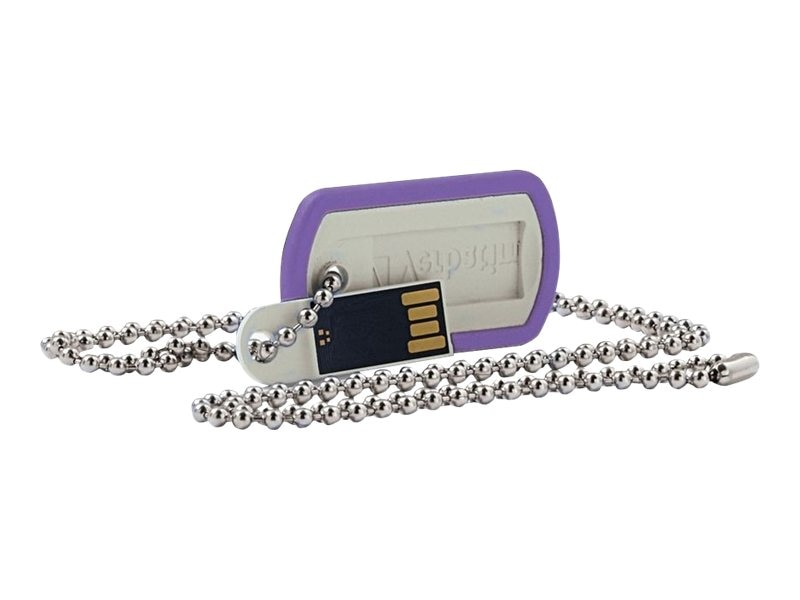 Verbatim 8GB USB Dog Tag Flash Drive, Violet, 98512
