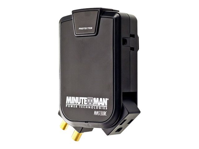 Minuteman Slimline Wall-tap Surge Protector, 3-Outlet 1-Rotating, 1-Rotating Coax, 2160J, 120V, 15A, MMS130RC