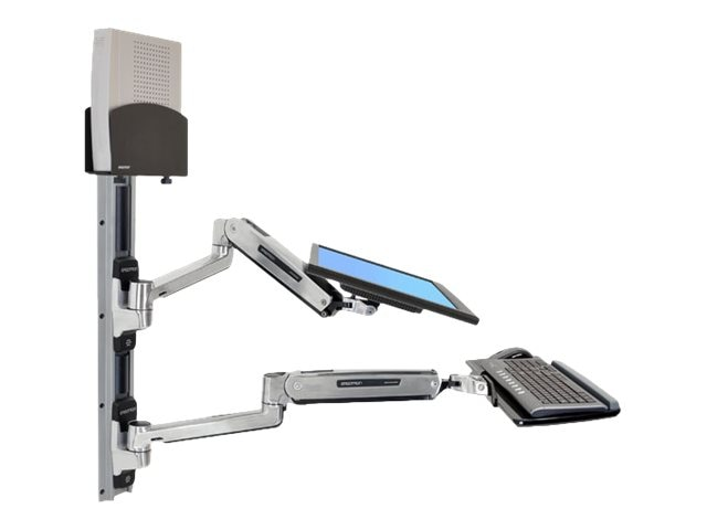 Ergotron LX Sit-Stand Wall Mount System with Small Black CPU Holder, 45-359-026