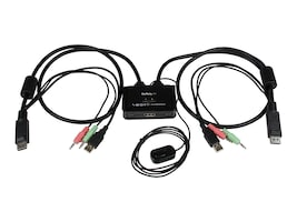 StarTech.com 2-Port USB DisplayPort Cable KVM Switch with Audio and Remote Switch, USB Powered, SV211DPUA, 16441661, KVM Switches