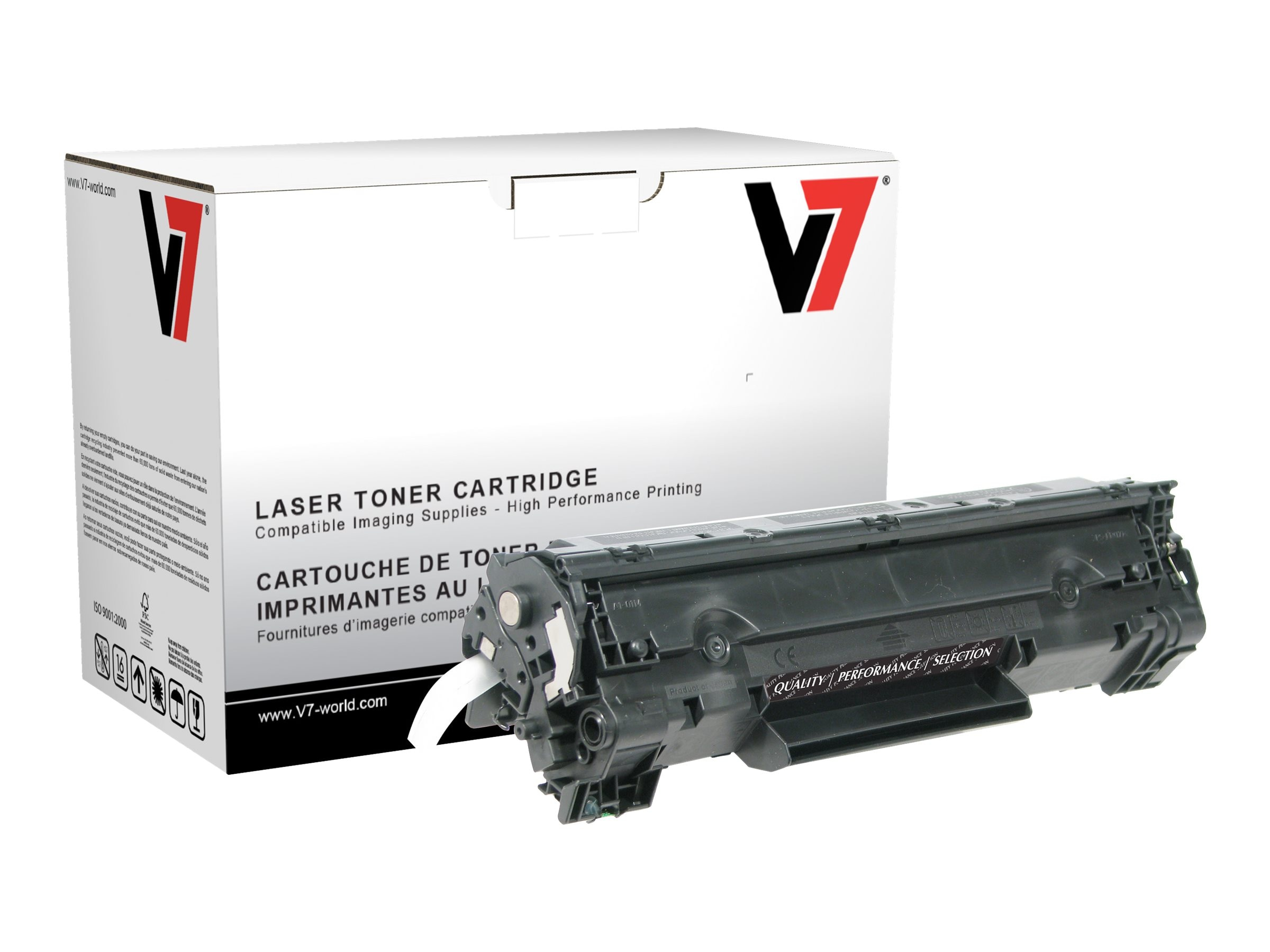 V7 CB435A Black High Yield Toner Cartridge for HP P1005 (TAA Compliant), THK2435AJH