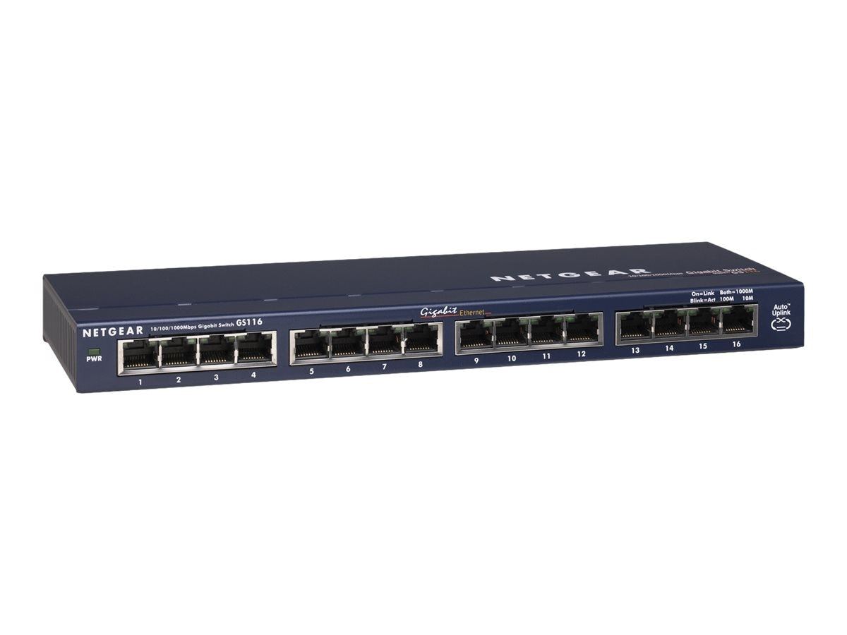Netgear ProSAFE GS116 16-Port GbE Switch, GS116NA