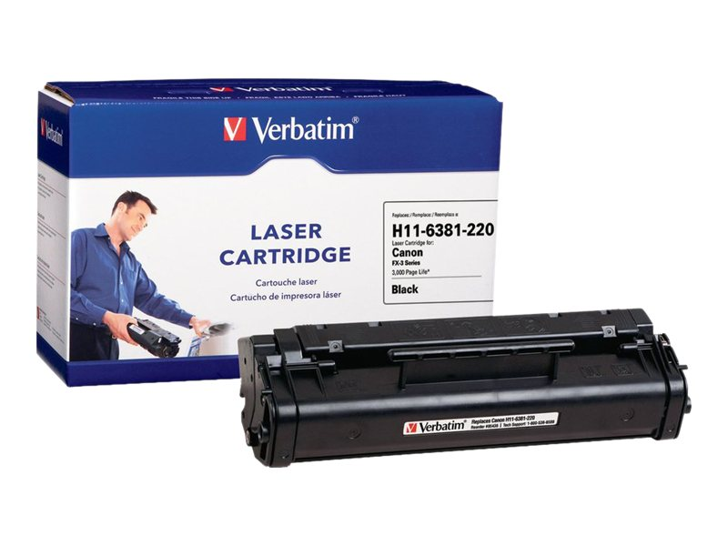 Verbatim FX-3 Black Toner Cartridge for Canon FAX L200, L220, L240, L250, L260I, L280, L290, L295, L300, 95436
