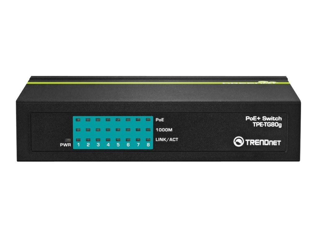 TRENDnet 8-port Gigabit Ethernet GreenNet PoE Switch - 30W, TPE-TG80G, 14538215, Network Switches