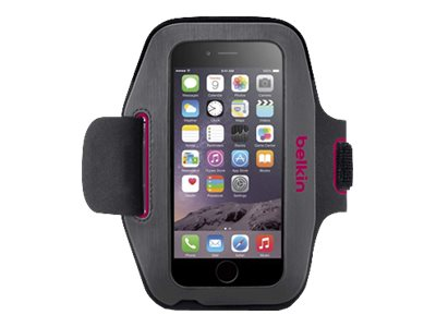 Belkin Sport-Fit Armband for iPhone 6, Gravel Fuchsia, F8W500BTC01, 18815881, Carrying Cases - Phones/PDAs