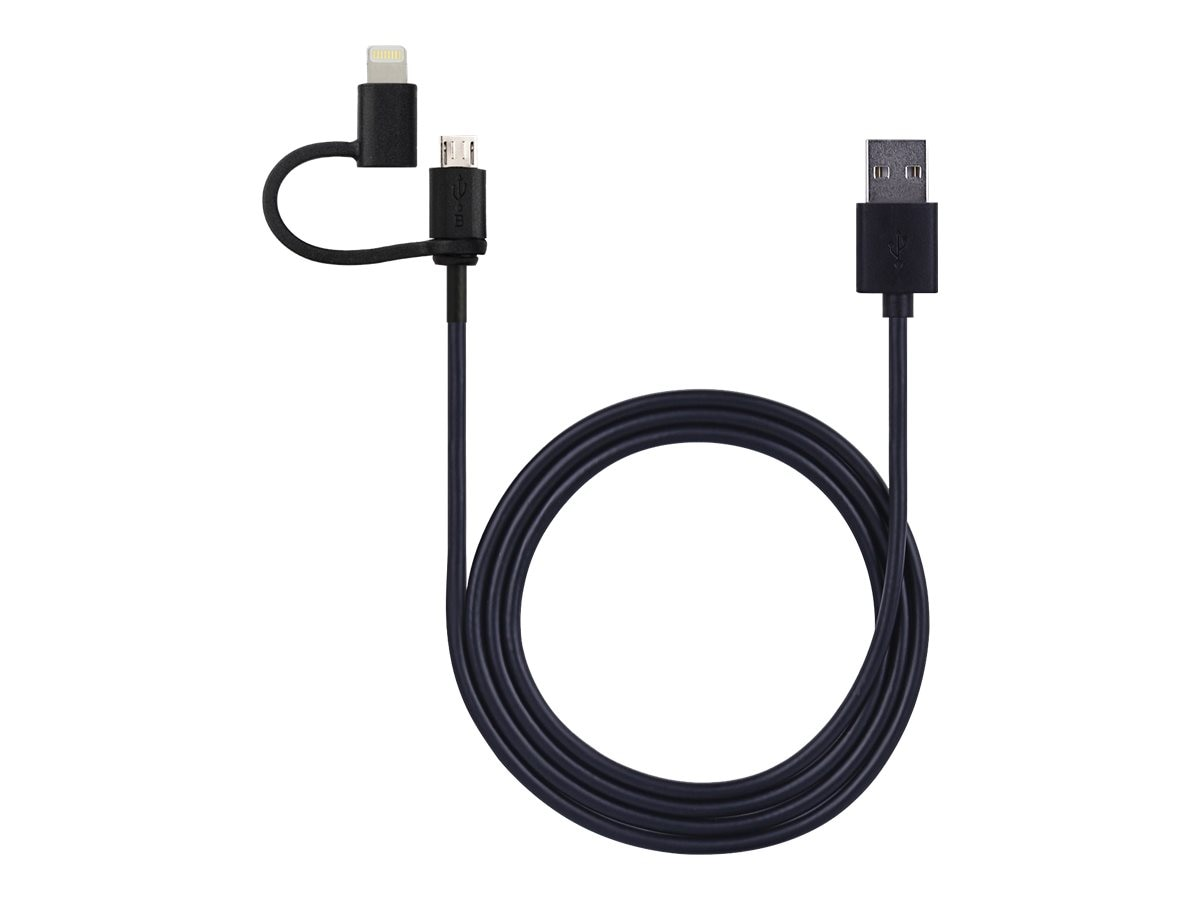 V7 2-in-1 Combo Lightning Micro 8-pin USB Cable, 1m, LTMCUSB1M-BLK-2NC