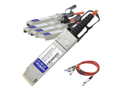 ACP-EP MSA Compliant 40GBase-AOC QSFP+ to 4xSFP+ Direct Attach Cable, 10m, QSFP-4SFP-AOC10M-AO