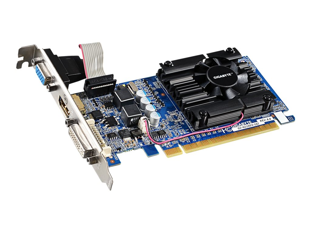 Gigabyte Tech NVIDIA GeForce 210 Graphics Card, 1GB DDR3, GV-N210D3-1GI REV6.0