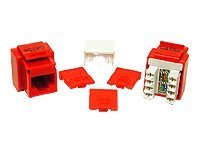 C2G Cat5e RJ-45 Keystone Jack, Red, 03794, 7167479, Premise Wiring Equipment