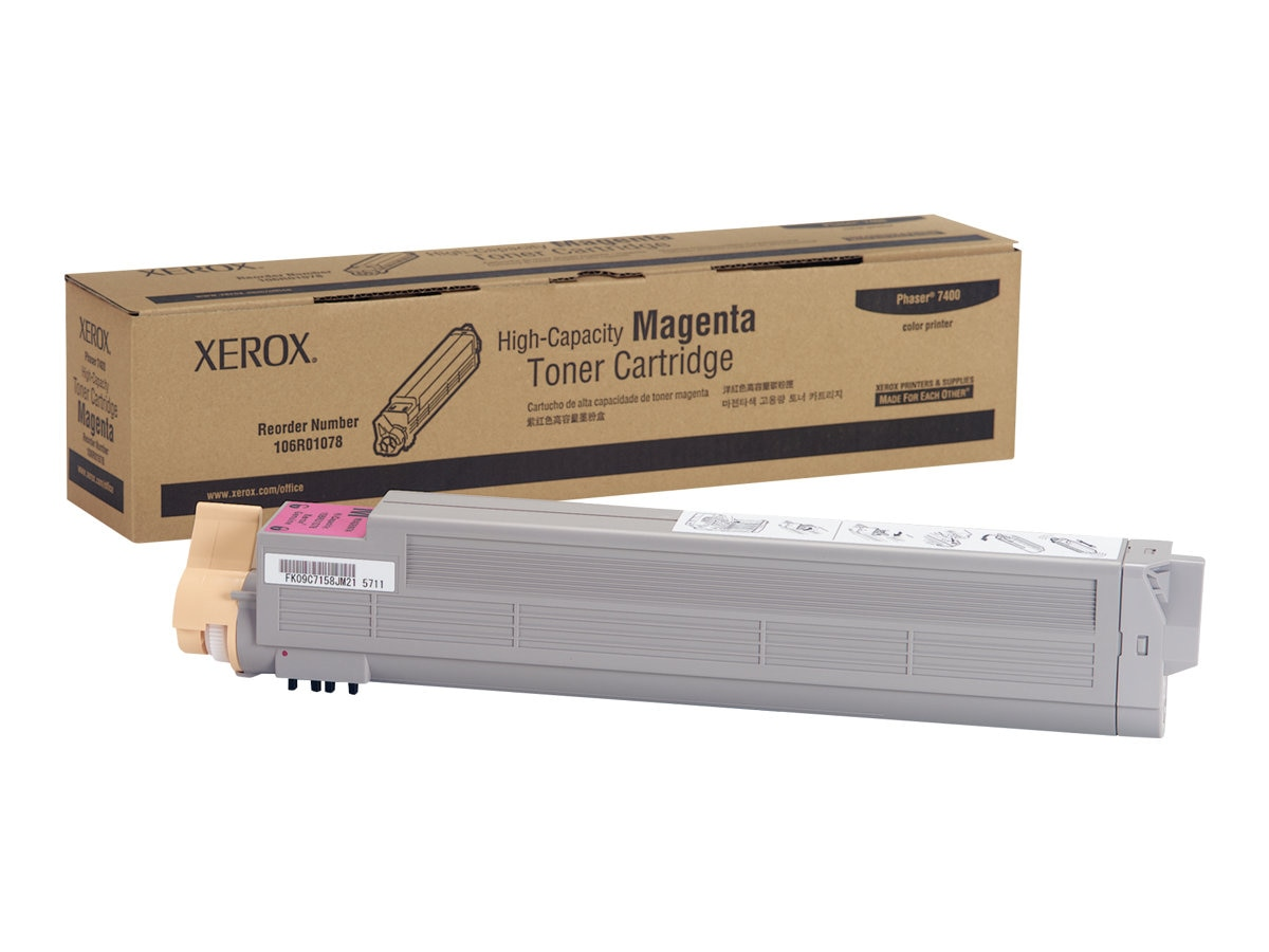 Xerox Magenta High Capacity Toner Cartridge for Phaser 7400 Series Color Printers, 106R01078, 6076372, Toner and Imaging Components