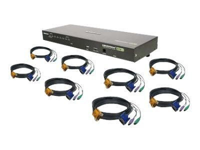 IOGEAR 8-Port Combo VGA KVMP Switch with four PS2 and four USB Cables, GCS1808KIT, 10177299, KVM Switches