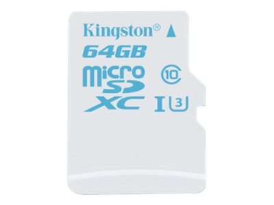 Kingston 64GB microSDXC UHS-I U3 Flash Memory Card with SD Adapter, Class 10