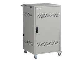 Black Box 36-Device iPad, Chromebook, Tablet, and Laptop Cart - Steel Top, Fixed Shelves, Hinged Door, LCC36H-AC, 32989853, Computer Carts