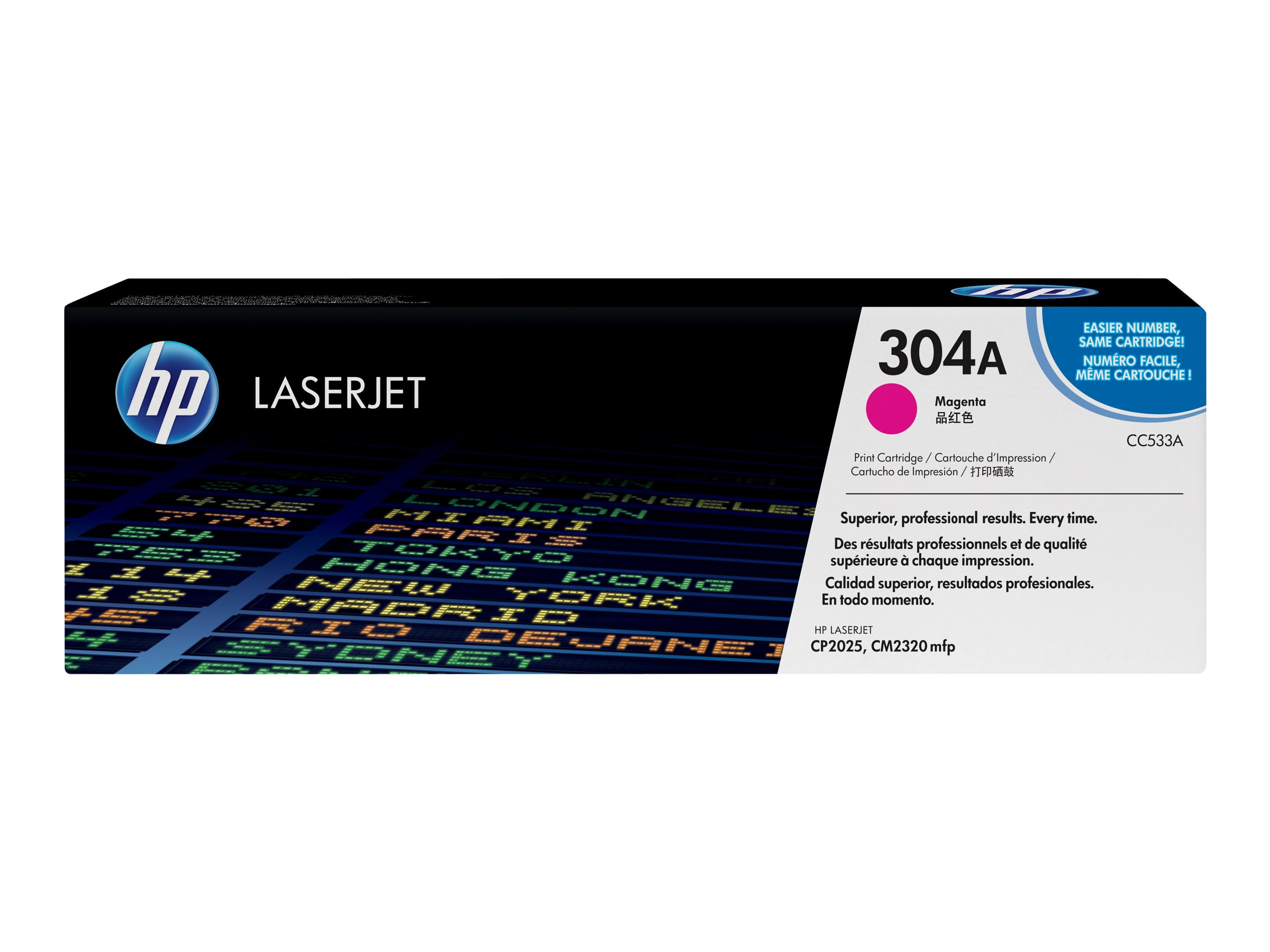HP 304A (CC533A) Magenta Original LaserJet Toner Cartridge for HP Color LaserJet CP2025 & CM2320 MFP, CC533A
