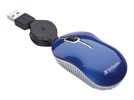 Verbatim Go Mini Travel Commuter Series USB 2.0 Optical Mouse, Blue, 98616, 32980322, Mice & Cursor Control Devices
