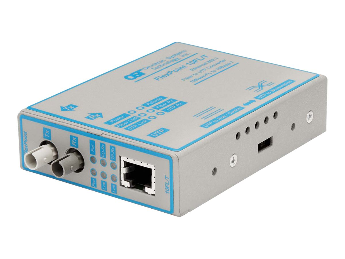 Omnitron FlexPoint 10FL T Media Converter 10BaseT to 10BaseFL, 4301-1, 194598, Network Transceivers