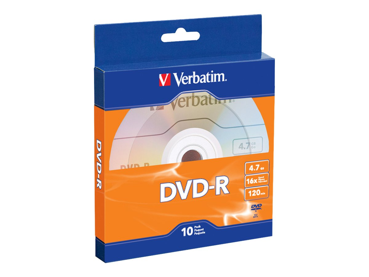 Verbatim 16x 4.7GB DVD-R Media (10-pack), 97957, 16998119, DVD Media