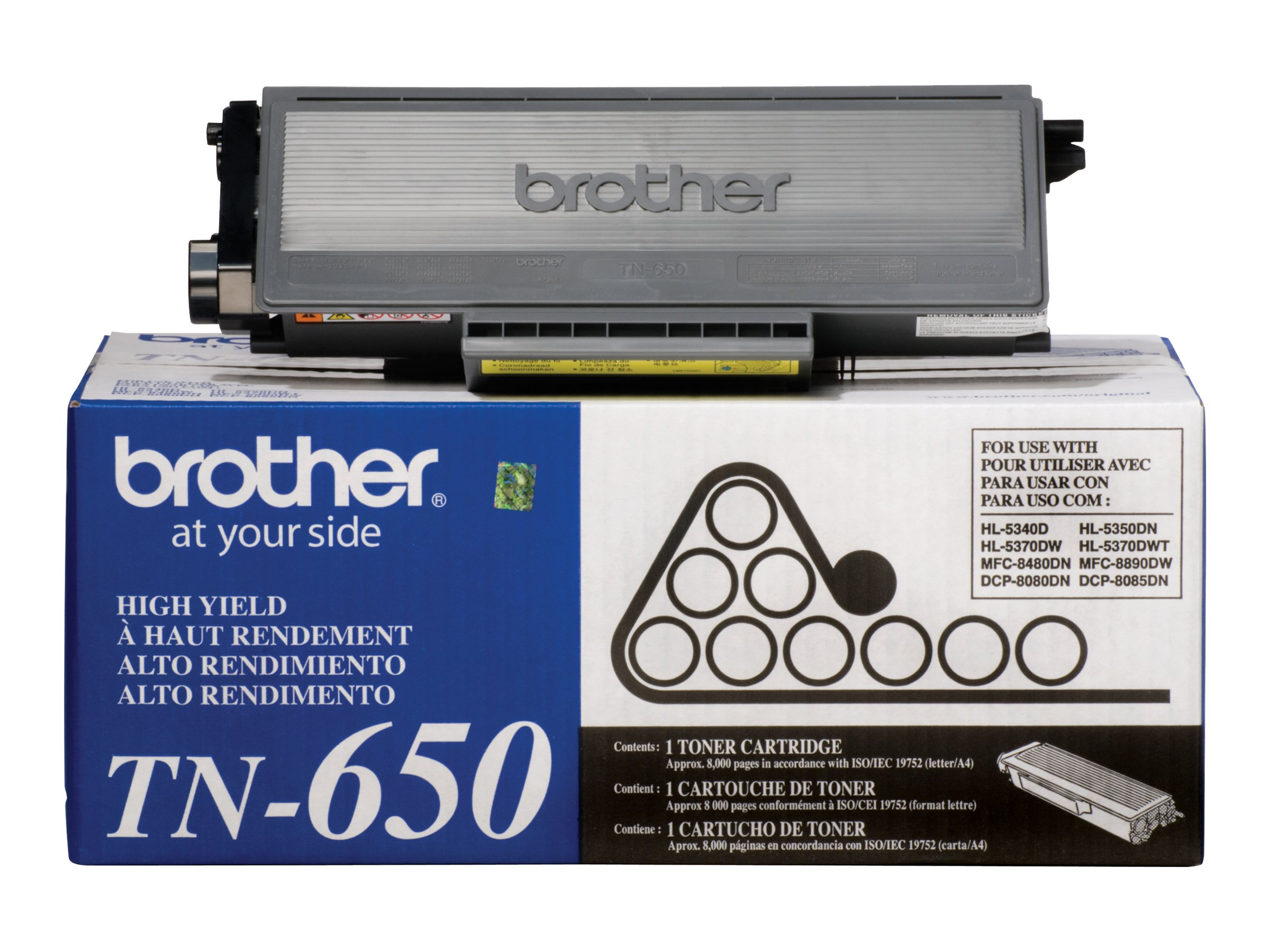 Brother Black TN650 High Yield Toner Cartridge, TN650, 9532100, Toner and Imaging Components