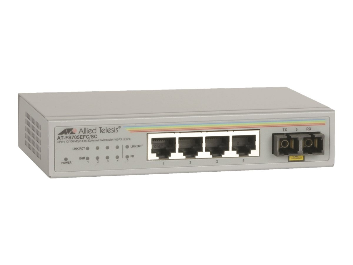Allied Telesis 5Pt. 10 100Mbps Unmanaged Switch w  1 Fiber SC UL Port External PSU, AT-FS705EFC/SC-60, 10786123, Network Switches