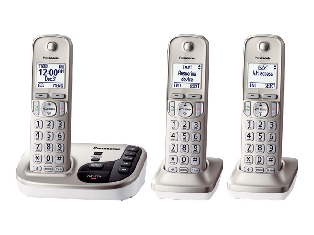 Panasonic Expandable Cordless Digital Phone w  Answering Machine & (3) Handsets - Silver, KX-TGD223N