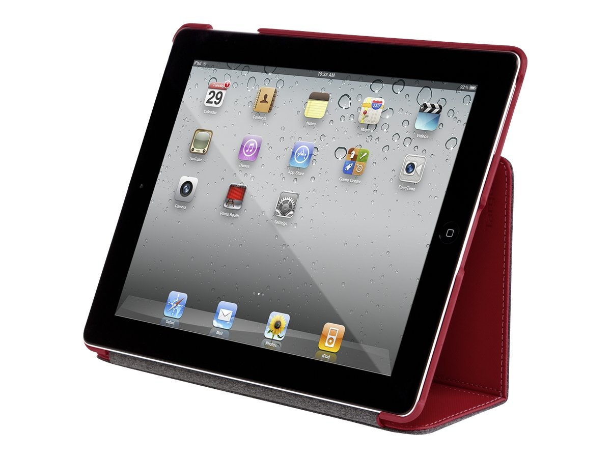 Targus Slim Case, Bittersweet Red, Stylus, Bone White Bundle for iPad 3