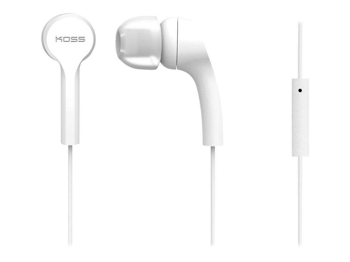 Koss Noise Isolation In-Ear Buds w  Extra Cushions - White, KEB9IW, 21896900, Headsets (w/ microphone)