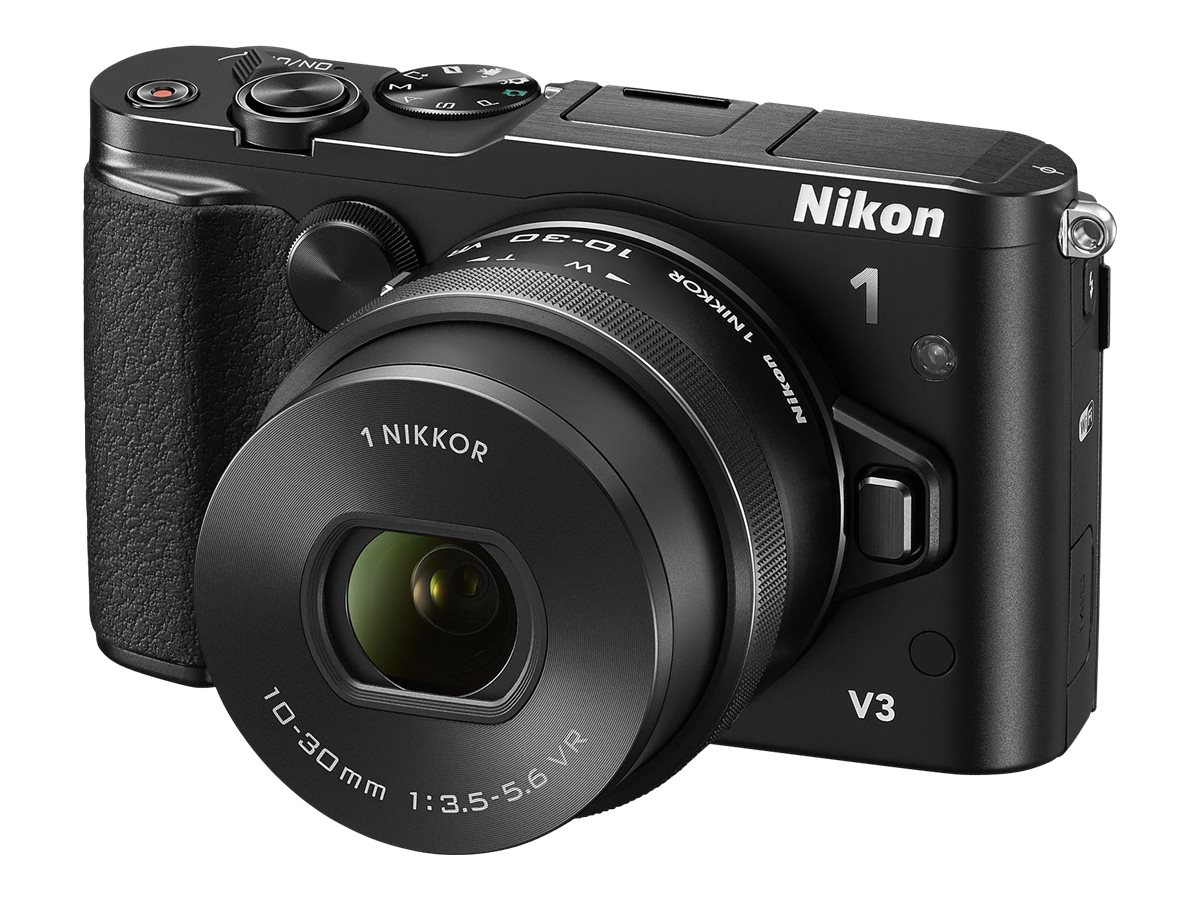 Nikon Nikon 1 V3 Mirrorless Digital Camera, Black with 10-30mm Lens, 27695, 17017079, Cameras - Digital - SLR