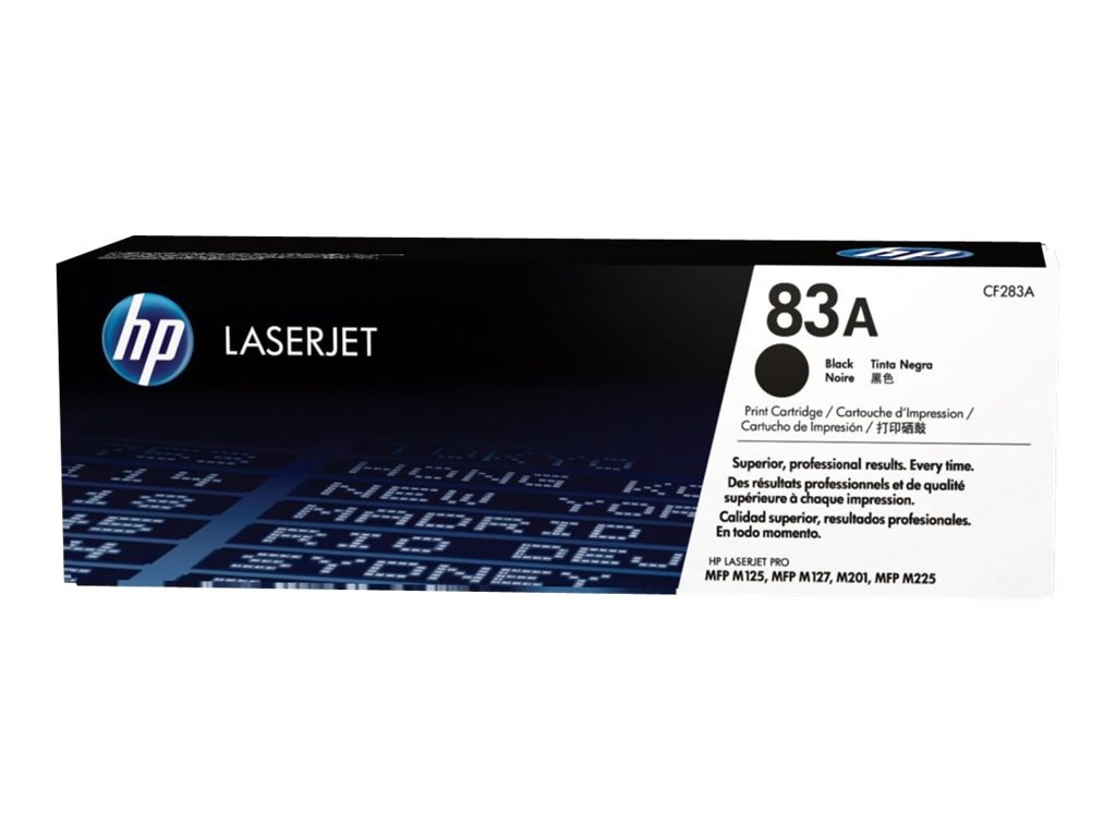 HP 83A (CF283A) Black Original LaserJet Toner Cartridge, CF283A, 16431260, Toner and Imaging Components