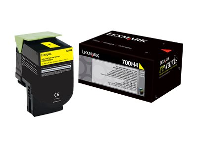 Lexmark 700H4 Yellow High Yield Toner Cartridge, 70C0H40