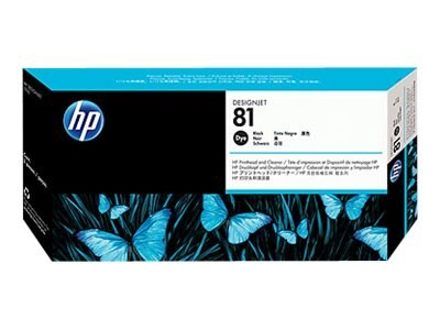 HP 81 Black Dye Printhead & Printhead Cleaner for HP DesignJet 5000 & 5500 Series, C4950A, 204467, Ink Cartridges & Ink Refill Kits