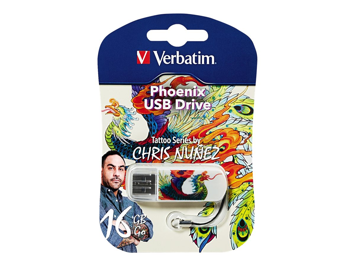 Verbatim 16GB Mini USB Tattoo Series Flash Drive, Phoenix, 98517
