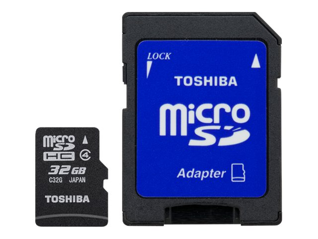 Toshiba 32GB MicroSDHC Flash Memory Card, Class 4 with SD Adapter, PFM032U-1DAK, 16450225, Memory - Flash