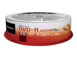 Sony 16x 4.7GB 120min. DVD-R Media (25-pack Spindle), 25DMR47PP, 15780935, DVD Media