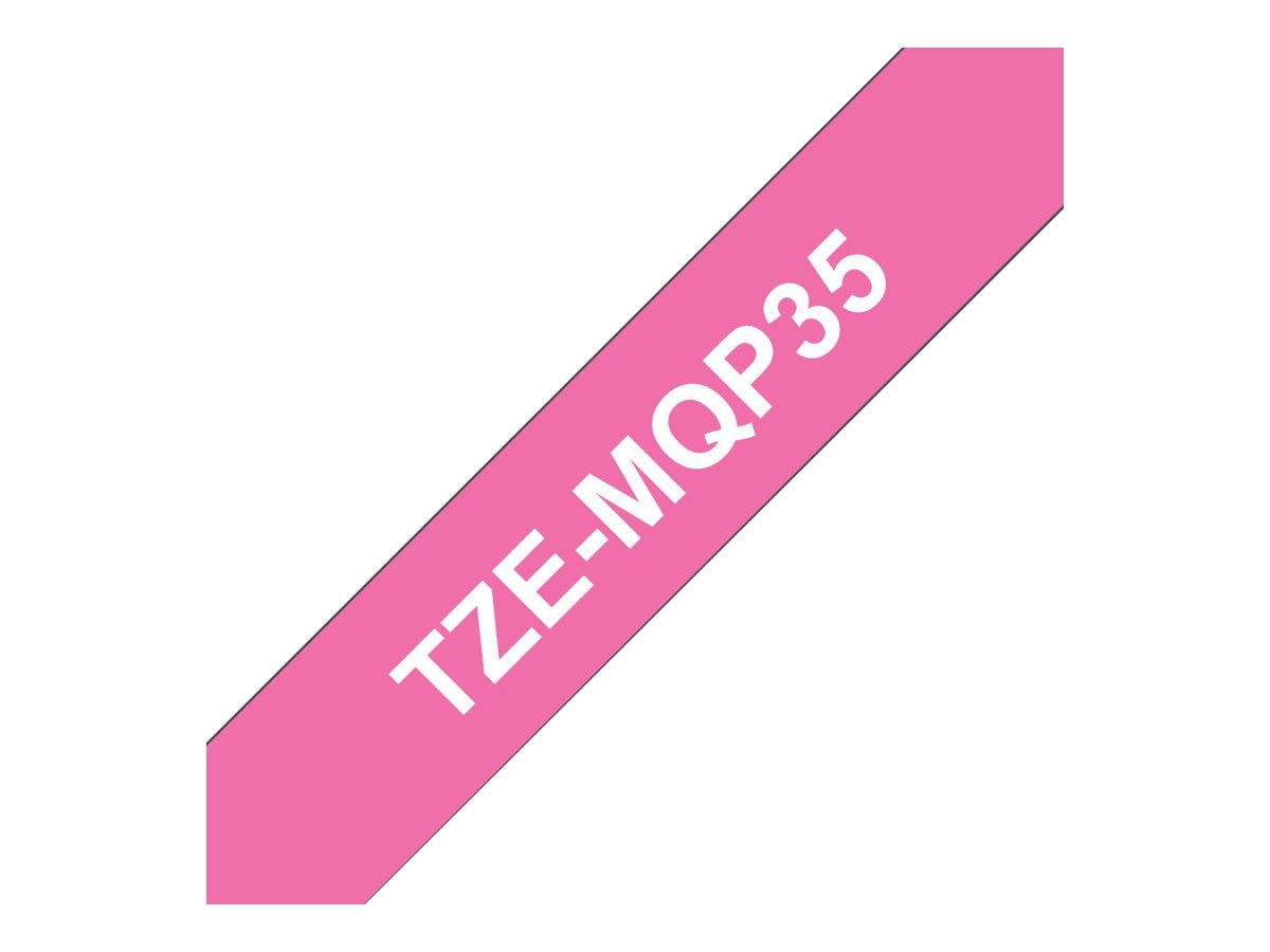 Brother 0.47 x 16.4' TZeMQP35 White on Berry Pink Tape for P-Touch