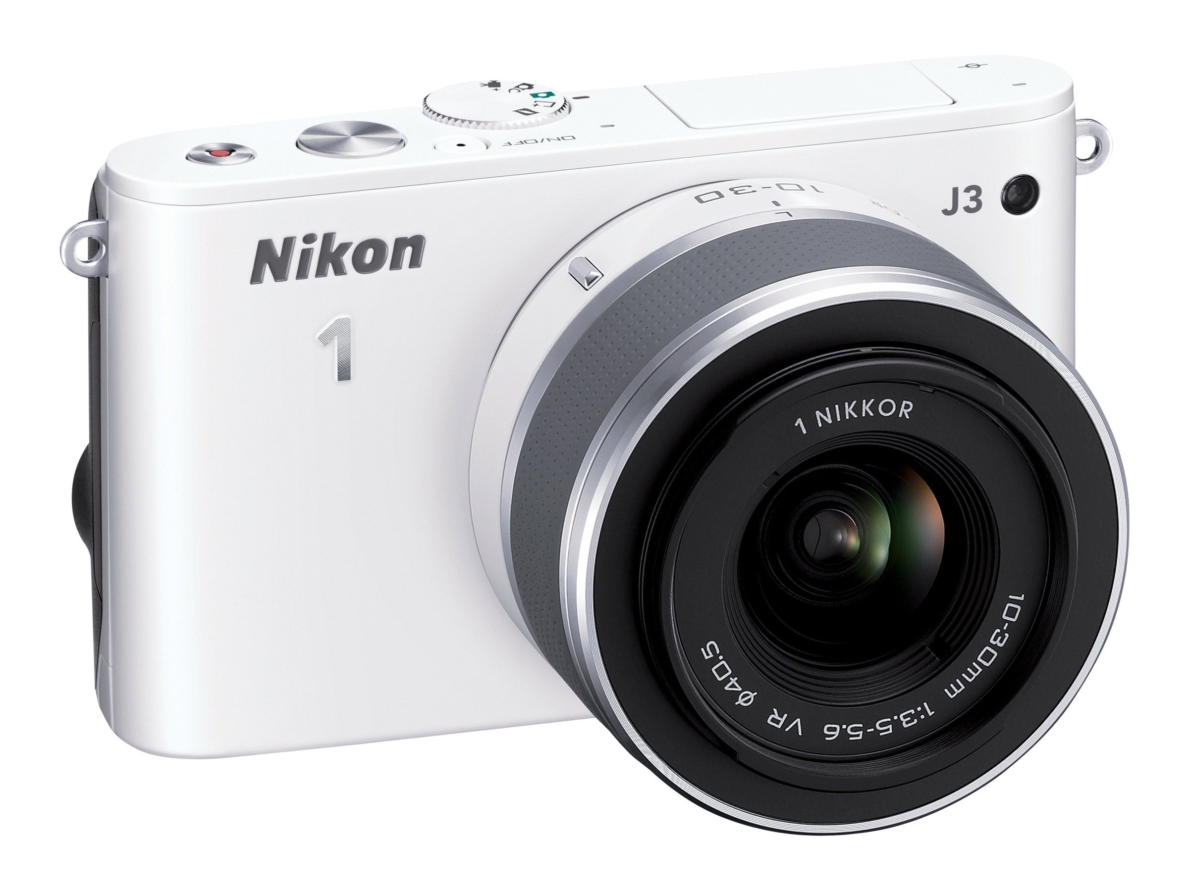 Nikon J3 Interchangable Lens Digital Camera, 14.2MP, White with 10-30mm Lens, 27638, 15256404, Cameras - Digital - SLR