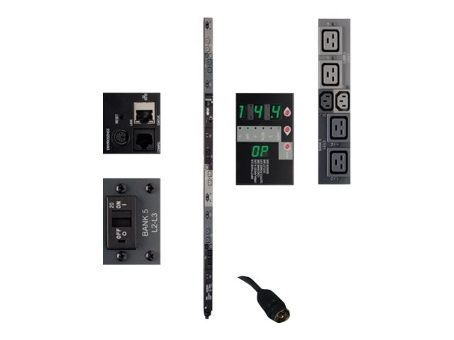Tripp Lite Switched PDU 14.4kW 208V 3-ph 45A 0U, Hubbell CS8365C 50A Input, 6ft Cord, (6) C13, (12) C19 Outlets, PDU3VSR6H50A, 16516079, Power Distribution Units