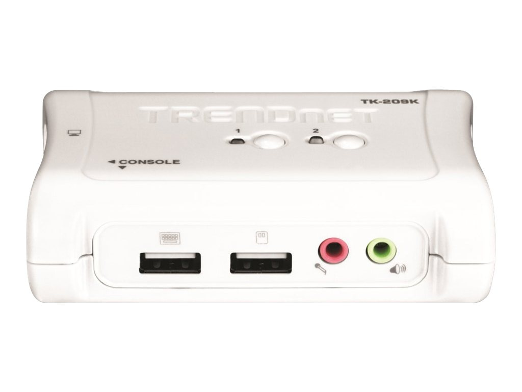 TRENDnet 2-Port USB KVM Switch Kit with Audio, (2) USB KVM Cables, (2) Audio Cables, TK-209K, 7708669, KVM Switches