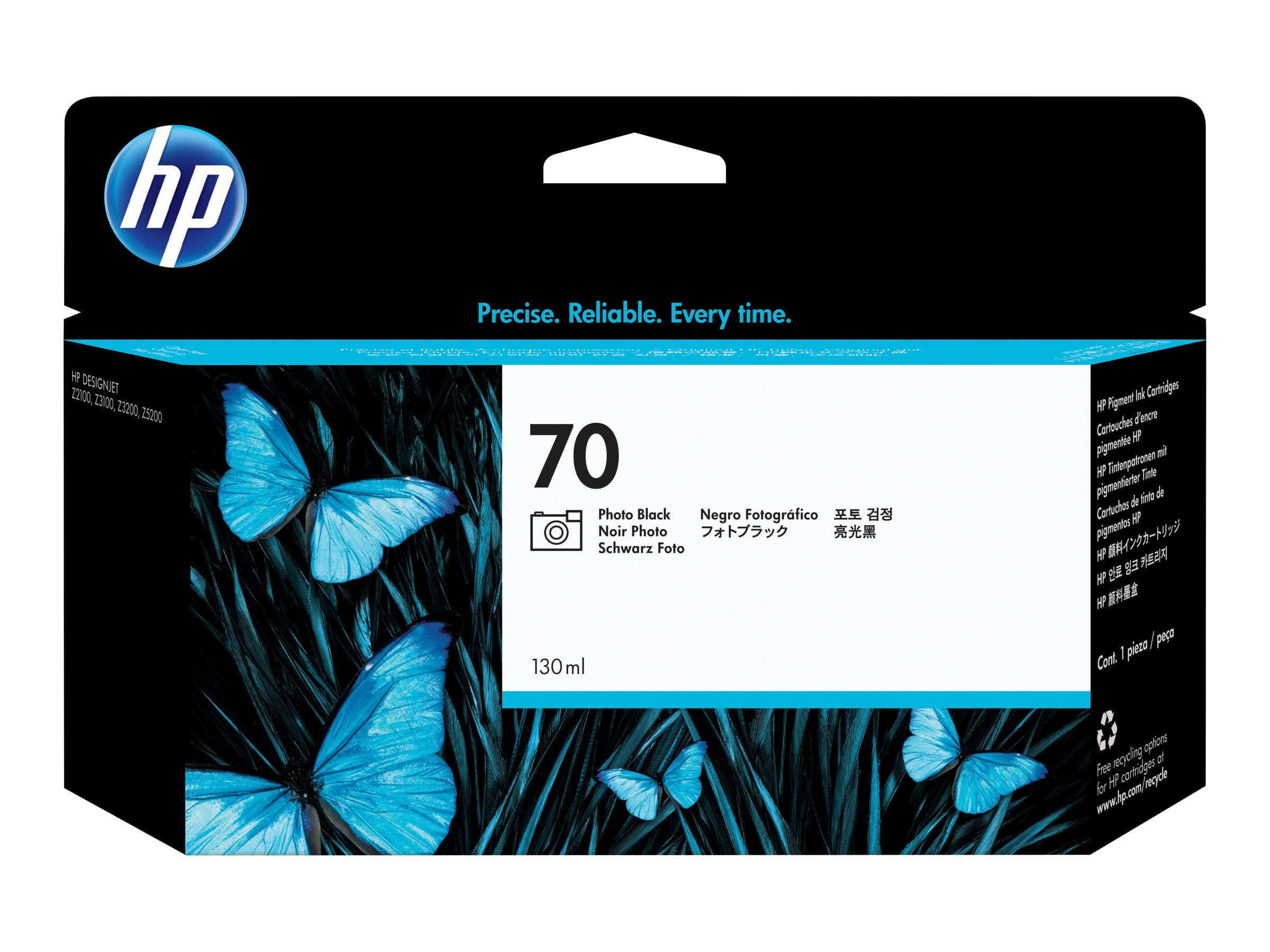 HP 70 130-ml Photo Black Ink Cartridge for HP DesignJet Z2100 & Z3100 Printers