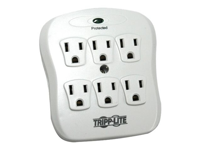 Tripp Lite PROTECT IT! Surge Protector Direct Plug-in 540 Joules, (6) Outlets, Light Gray, SK6-0, 188478, Surge Suppressors