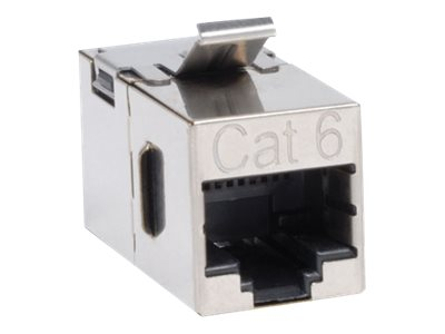 Tripp Lite Cat6 Straight-Through Shielded Modular In-line Snap-in Coupler, Silver, N235-001-SH