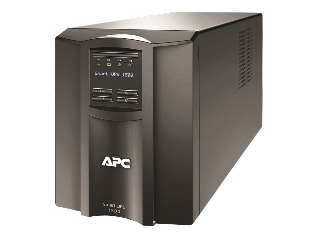 APC Smart-UPS 1500VA 120V LCD Tower UPS (8) 5-15R Outlets USB Serial SmartSlot Audible Alarm Disabled, SMT1500X413, 14388026, Battery Backup/UPS