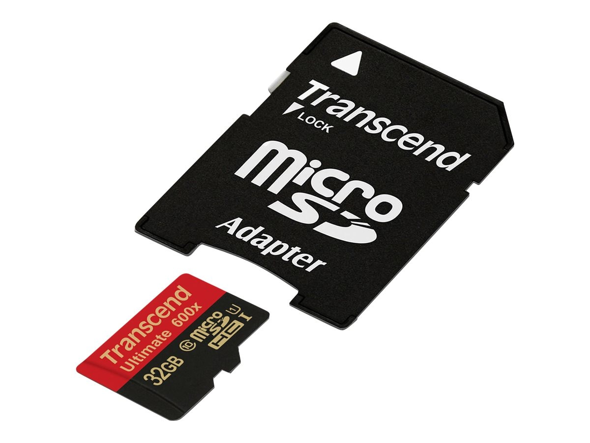 Transcend 32GB MicroSDHC Flash Memory Card with SD Adapter, Class 10, TS32GUSDHC10U1