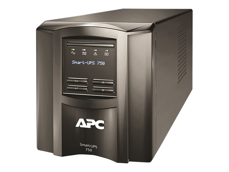 APC Smart-UPS 750VA 500W 120V LCD Tower UPS (6) 5-15R Outlets USB, SMT750, 10334469, Battery Backup/UPS