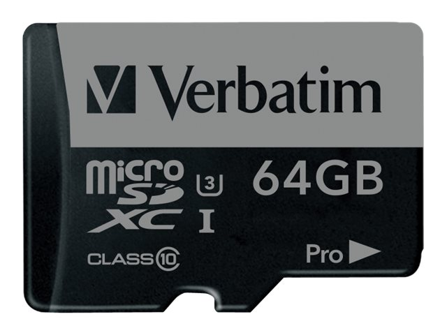Verbatim 64GB Pro 600X UHS-I U3 microSDXC Memory Card with Adapter, Class 10, 47042